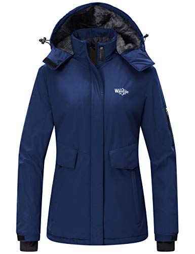 Wantdo Women's Warm Rain Jacket Waterproof Snowboarding Winter Coat Navy Blue M