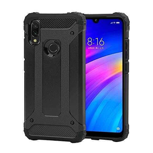 Coque pour Xiaomi Redmi 7 + Verre Trempé, Weideworld [Armor Box] [Double Couche] Étui de Protection Antichoc Housse pour Xiaomi Redmi 7, Noir