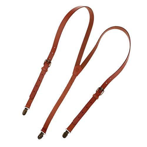 Sharplace Unisex Tirantes Ajustables de Cuero con 3 Clips Ancho 1.8cm para Hombre Mujer