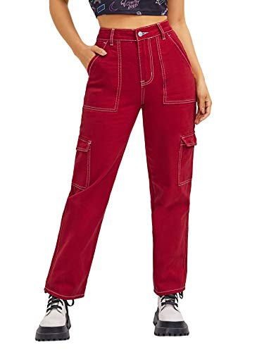 SOLY HUX Women's High Waisted Pocket Side Denim Pants Straight Leg Cargo Jeans Red M