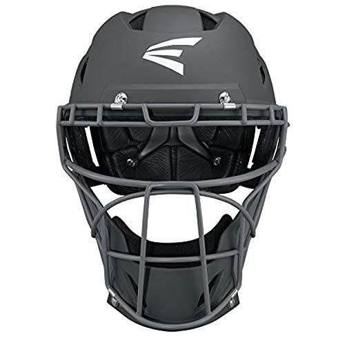 EASTON PROWESS Fastpitch Softball Catchers Helmet | Large | Matte Charcoal / Charcoal | Molded EVA Foam + Impact Absorption + Comfort | Streamlined ABS Shell | Black Matte Steel Cage | NOCSAE
