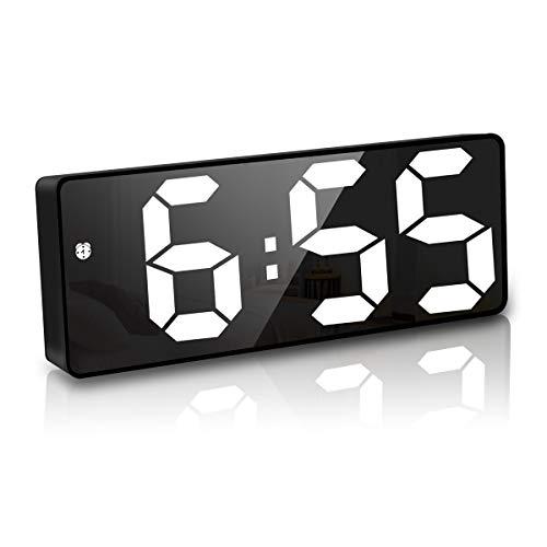 JQGo Digitaler Wecker, Digitaler Wecker mit Große LED Temperaturanzeige, USB Ladeanschluss, Lauter Alarm, Helligkeit Regelbar, Snooze, 12/24HR, Temperatur Anzeige, Nachttisch Schlafzimmer (Schwarz)