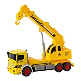 EPFamily Friction Powered Toy Crane Truck Construction Vehicle Kids Toy with Extendable Arm for Kids Age 3+