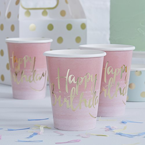Pick and Mix - Gold Foiled Pink Ombre Happy Birthday Paper Cups