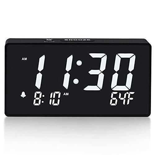 "Digital Alarm Clock with Simple Operation, Adjustable Alarm Volume, Full Range Brightness Dimmer, Large 6"" White LED Screen, USB Port for Charging, Temperature, Electric Clocks for Bedrooms, Bedside"
