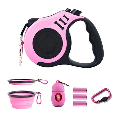 PETIMP Retractable Dog Leash Lightweight Portative 16FT Leash, with Folding Bowl,Dispenser,Rubbish Bags, for Small Medium Dogs(Pink)