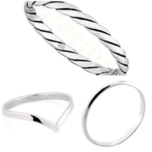 Set Of 3 Solid 925 Sterling Silver Rings Wishbone,2mm Band,2mm Pattern sizes G-Z (W)