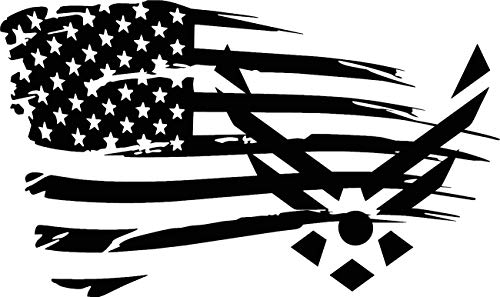 Distressed Flag U.S. Air Force Hooah Airmen Sticker/Home Decor Decal (Flat Black)
