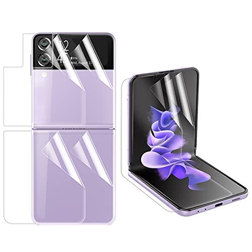 Foluu 2 x weiche Bildschirmschutzfolie für die Vorderseite, 2 x Bildschirmschutzfolie innen, 2 x Bildschirmschutzfolie für die Rückseite kompatibel mit Samsung Galaxy Z Flip 3 5G 2021, blasenfrei