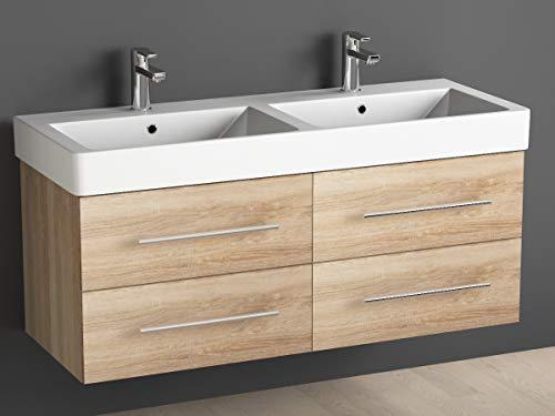 Aqua Bagno Badmöbel 120 cm inkl. Keramik Doppelwaschtisch/Badezimmer Möbel inkl. Waschbecken Unterschrank Eiche Gold Sonomo