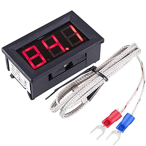 PEMENOL 12V Red Fahrenheit Digital Temperature Meter -76F~999F LED Display with Industrial Grade 0.5m K-Type Thermocouple Temperature Sensor M6