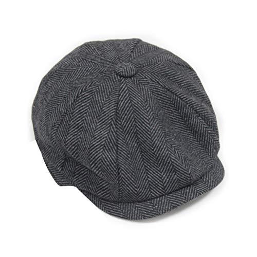 FENICAL Fenical Männer Winter Mütze Mütze Zeitungsjunge Sonnencreme Hut Wram Tweed Flache Bakerboy Mütze Größe M (Grau)