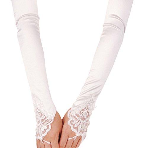 Liying Neu Damen Lange Hochzeithandschuhe Brauthandschuhe Fingerlose Spitze Handschuhe Hochzeit Abend Party Satin sexy Spitzenhandschuhe, Weiß, Einheitsgröße - 2