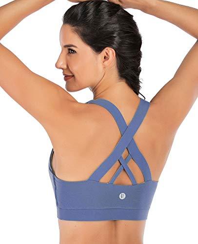 Running Girl Sport-BH für Damen, gekreuzter Rücken, gepolsterter Riemen, mittlere Unterstützung, Yoga-BH mit abnehmbaren Cups -  Violett -  85D/C 90A/B XL