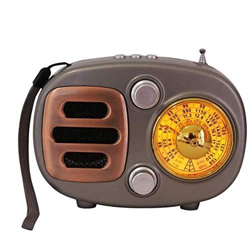 GANE Altavoces Bluetooth Radio portátil Estilo Retro Vintage Receptor de Radio inalámbrico Recargable Mini Radio Soporte USB Regalos Adornos Negro
