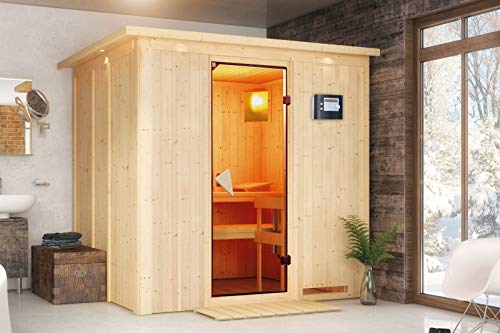 Daria - Karibu Sauna Plug & Play SPARSET inkl. 3,6 kW Ofen, Dachkranz, Leuchte, Zubehör-Set