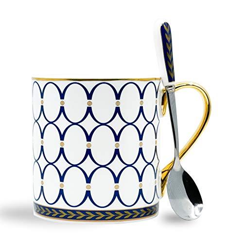 Rhapsody Studio White Porcelain Tea Set 16 Ounce Specialty Coffee Mugs Tea Cups With Spoon Gold Trim And Handle English Tea Set Cappuccino Mug Latte Mugs Americano Gold Coffee Mug Set 475 mL Circle