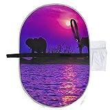 Siluetas de elefantes africanos en el lago Kariba Zimbab Alfombrilla para cambiar pañales para bebés Alfombrillas de cambio 27x10 pulgadas Alfombrilla plegable impermeable Estación para cambiar pañal