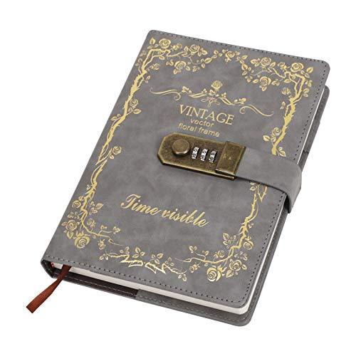 Bloc de notas A6 Diary con bloqueo, bloc de notas de color, diario de cerradura, con combinación de cuaderno secreto, bloc de notas para estudiantes (A5 gris claro)