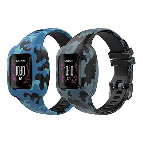 MoKo 2PACK Band Compatible with Garmin Vivofit JR 3 Tracker, Soft Silicone Printing Pattern Adjustable Replacement Strap Fits 5.1-7.5in Wristband Bracelet, Camouflage Blue & Mosaic
