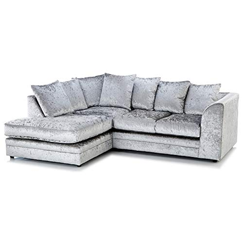 HHI Modern Silver Crushed Velvet Chicago Michigan Sofas-Corner Sofa (Left Side Sofa)