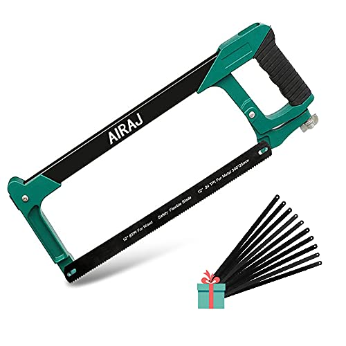 AIRAJ Seghetto per metallo Kit con 10 lame per sega,305mm Telaio per seghetto con tensione regolabile,2 angoli di sega (45 °   90 °),Adatto per fai da te domestico,taglio del legno