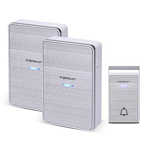 Aigostar Ding DC- Timbre inalámbrico portátil, Timbre Inalámbrico Exterior Impermeable, 36 Melodías, 2Receptores y 1 Transmisor