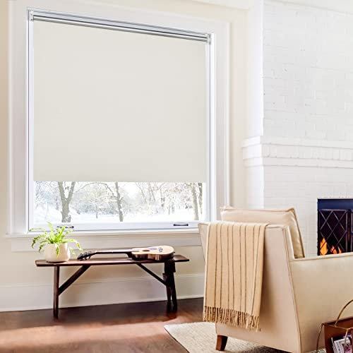 Homland Verdunkelungsrollo klemmfix Thermorollo ohne Bohren/mit Bohren Creme 50x170cm (BxH), Hitzeschutz und Sichtschutz, Wandmontage & Deckenmontag Seitenzugrollo für Fenster und Tür
