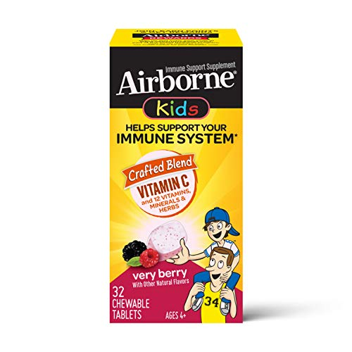 Vitamin C 500mg - Airborne Kids Very Berry Chewable Tablets (32 count in a box), Gluten-Free Immune Support Supplement and High in Antioxidants