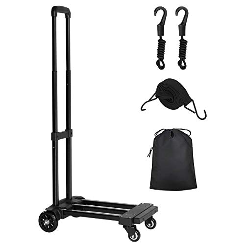 KEDSUM Folding Hand Truck, 155 lbs Heavy Duty Luggage Cart, 4 Wheels Solid Construction, Portable Fold Up Dolly, Compact and Lightweight for Luggage, Personal, Travel, Moving and Office Use