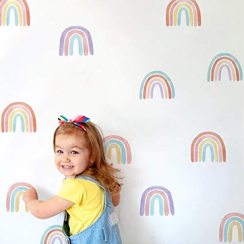 POHOVE 6sheets de Colores Arcoiris Adhesivo Pared Habitación Infantil Salón Clases Decoración Hogar Extraíble Vinilo para Niños Bebé Niña - como Imagen Show, pa187