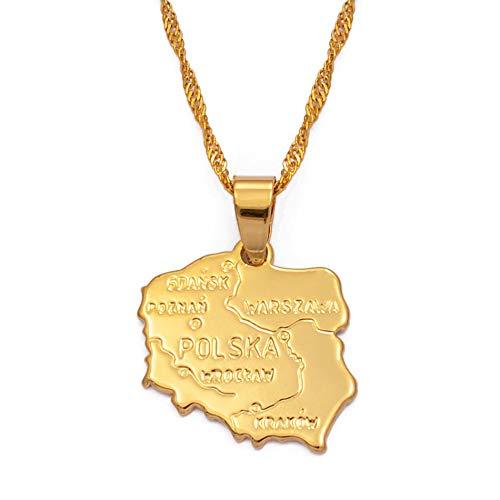 VAWAA Karte Polska Halskette Anhänger Für Frauen Gold Farbe Schmuck Karte Von Polen Kette Mode 45 cm Dünne Kette