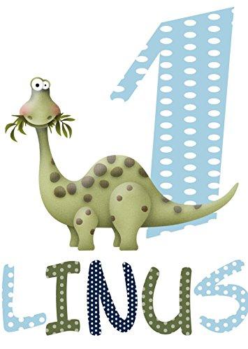 wolga-kreativ Bügelbild Applikation Aufbügler 1 2 3 4 5 6 Geburtstag Dino Dinosaurier Name Buchstaben Zahl Junge zum selbst Aufbügeln A5 Geburtstagsshirt Kindergeburtstag Bügelbilder Kinder