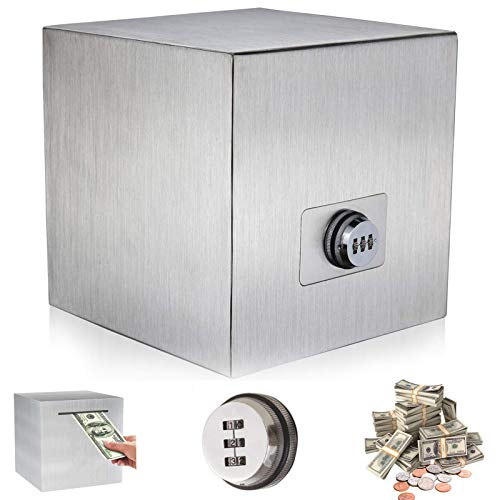 Piggy Bank for Adults | Password Piggy Bank for Reuse | Stainless Steel Piggy Bank to Help Save for Vacation & Wedding & Education Fund| 7.9-inch