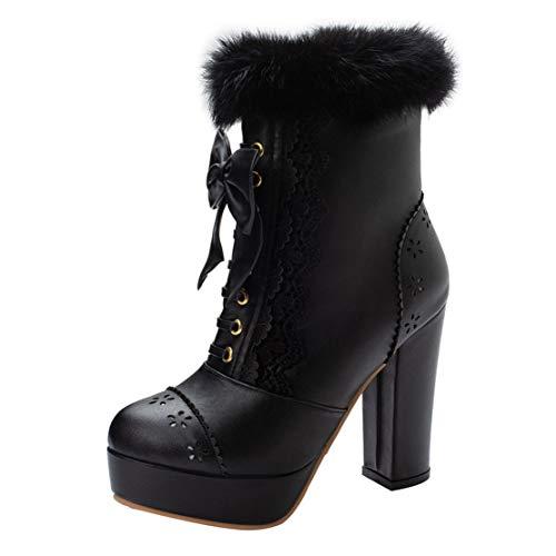 MISSUIT Damen Lolita High Heels Blockabsatz Stiefeletten mit Fell und Schleife Plateau Ankle Boots Rockabilly Reißverschluss Cosplay Kleid Schuhe(Schwarz,45)