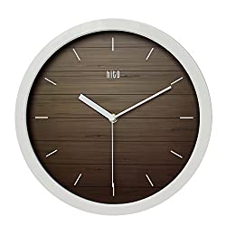 HITO Silent Wall Clock Non Ticking 12 inch Excellent Accurate Sweep Movement, Modern Decorative for Kitchen, Living Room, Bathroom, Bedroom, Office (A whiteframe)