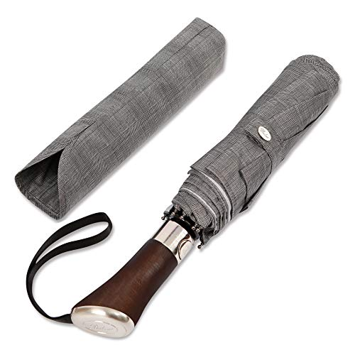 (Designed in UK) Balios Travel Umbrella Luxurious Golden Rosewood Handle Auto Open & Close Windproof Frame Single Canopy Automatic Folding Umbrella Men's & Ladies (Gray Glen Plaid)