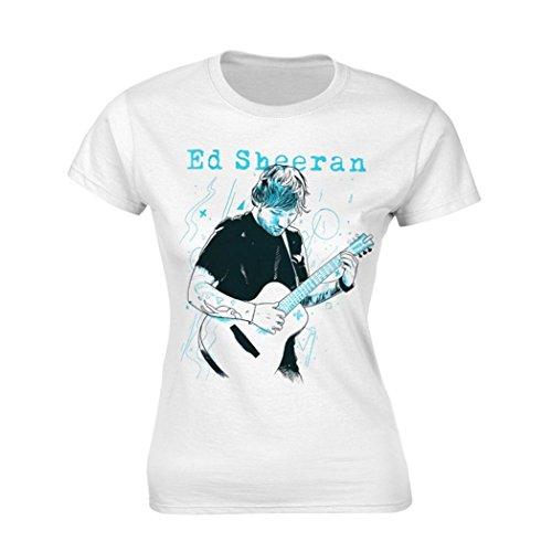 Ed Sheeran Officiële Skinny T Shirt Wit 'Gitaar lijn Illustratie' Alle maten