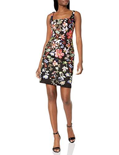 Nicole Miller New York Women's Sleeveless Embroidered Bodycon Dress, Black/Multi, 10