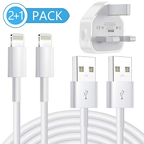 MFi gecertificeerde iPhone oplader, 2-Pack 1M opladen Lightning kabel en USB Wall Adapter Plug Block Compatibele iPhone XS Max/XS/XRX/8/8 Plus/7/7 Plus/6/6S/6 Plus/5S/SE 2 Pack Kleur: wit
