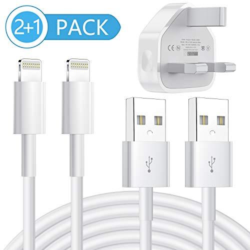 MFi gecertificeerde iPhone oplader, 2-Pack 1M opladen Lightning kabel en USB Wall Adapter Plug Block Compatibele iPhone XS Max/XS/XRX/8/8 Plus/7/7 Plus/6/6S/6 Plus/5S/SE 2 Pack Kleur: wit