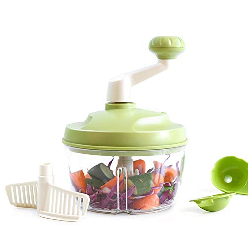 Cacyy Handmatige Food Shredder, Food Slicer, 5 Blades, Groente Ui Chopper Krachtige Pull-Up Upgrade Handheld Food Processor