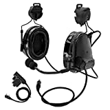 TAC-SKY Comtac III Helmet Tactical headset,Side Rail Airsoft Earmuffs with PTT and Microphone for Hunting (Black)