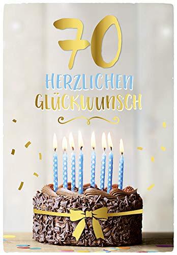 DeCoArt… Folienballon Buchstaben Party blau 40 cm ungefüllt mit Luft BEFÜLLBAR 1 Glückwunschkarte 70 Geburtstag Herzlichen Glückwunsch Torte Kerzen mit Umschlag 11,5 x 16,6 cm