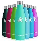 KollyKolla Botella de Agua Acero Inoxidable, Termo Sin BPA Ecológica, Botellas Termica Reutilizable Frascos Térmicos para Niños & Adultos, Deporte, Oficina, Yoga, Ciclismo, (750ml Verde Crema)