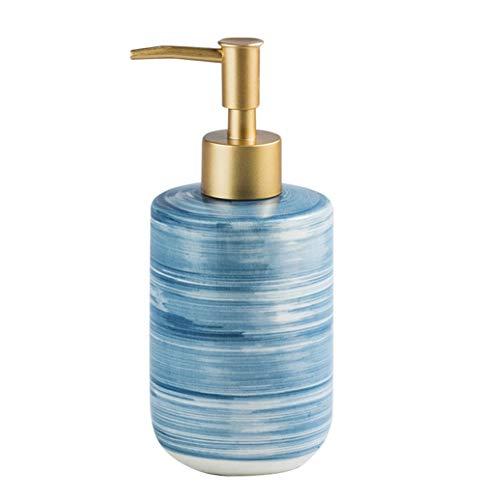 SELLONWANELO Dish Hand Soap Dispenser Pump Liquid Lotion Bottle Ceramic Bathroom Kitchen Blue