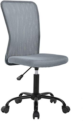 Office Desk Chair Armless Mesh Task Chair Ergonomic Computer Chair Mid-Back Rolling Swivel Chair with Lumbar Support Height Adjustable No Arm Modern Chair for Home&Office, Grey
