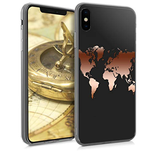 kwmobile Hülle kompatibel mit Apple iPhone XS - Handyhülle - Handy Case Travel Umriss Rosegold Transparent