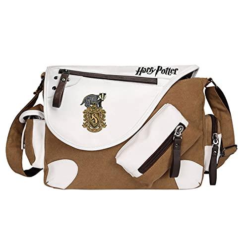 QLma Bolso mensajero de viaje de ocio juvenil bolso de hombro multifunción estilo retro Hufflepuff 35x26x11cm Marrón