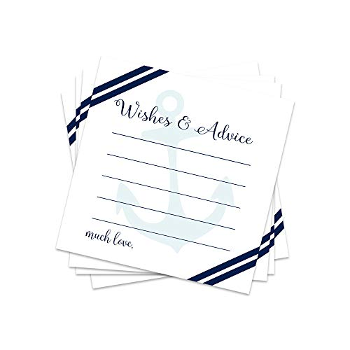 Nautical Advice Cards (25 Pack) Boys Baby Shower, Wedding, Graduation Parties, Bridal Shower, Retirement, Time Capsules